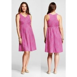 New LIZ LANGE MATERNITY Pink Chevron Stripe Dress